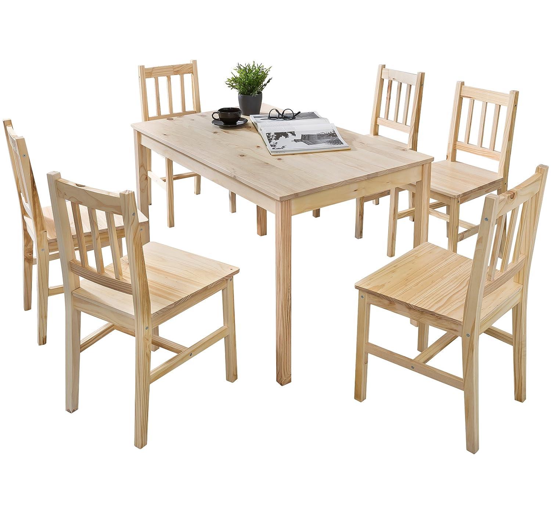 FineBuy Esstisch mit 6 Stühlen Kiefer Holz Braun Tisch 120 x 73 x 70 ...
