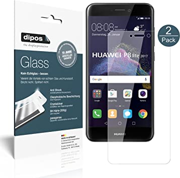 dipos I 2X Protector de Pantalla Compatible con Huawei P8 Lite 2017 Vidrio Flexible Cristal Proteccion 9H: Amazon.es: Electrónica