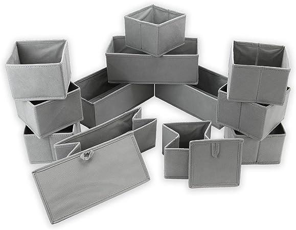 Organizadores de cajones | Cajas de almacenamiento de tela plegables | Sujetador, calcetines, insertos para cajones de ropa interior | M&W (juego de 12): Amazon.es: Hogar