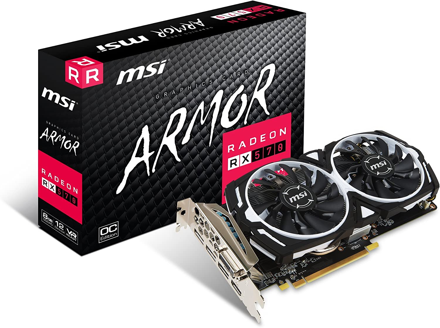 MSI Gaming Radeon RX 570 256-bit 8GB GDRR5 DirectX 12 VR Ready CFX Graphcis Card (RX 570 ARMOR 8G OC) (Renewed)