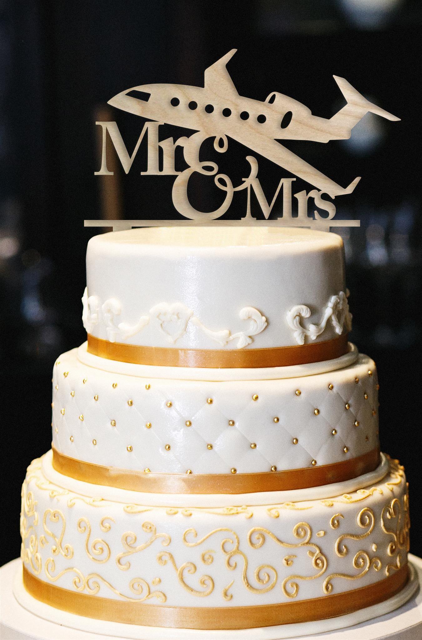 Mr & Mrs Wedding Cake Topper, Airplane Wedding Cake Topper, Gold Wedding Cake Topper, Wedding Cake Topper, Gold Glitter Wedding Cake Topper (6'', Wood)
