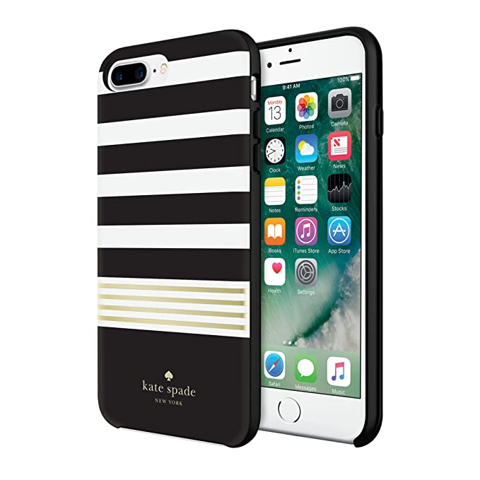 new concept 9ea4f 7505c Incipio Apple iPhone 7 Plus/8 Plus Kate Spade New York Hybrid Hard-Shell  Case - Stripe 2 (Black/White/Gold Foil)