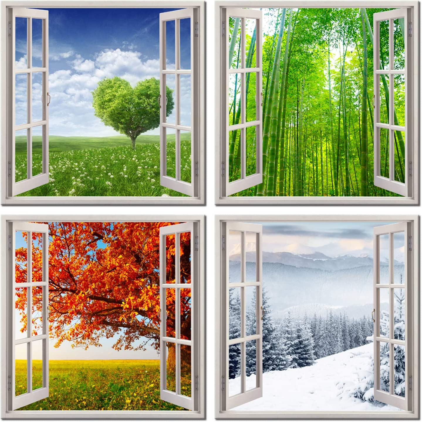 4 Panels Canvas Wall Art Spring Summer Autumn Winter Four Seasons Landscape Color Tree Painting Prints Picture Modern Artwork Framed for Bedroom Home Decor 12x12in x4pcs