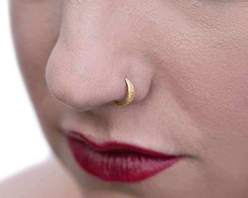 Amazon Com 14k Gold Nose Ring Unique Indian Nose Hoop Piercing