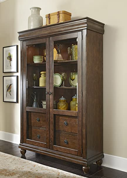 Great Liberty Furniture Rustic Tradition Dining Display Cabinet, Rustic Cherry  Finish