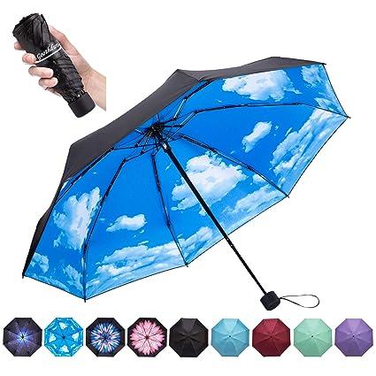 1262325bd057 Goothdurs Travel Mini Umbrella - Compact Small Sun & Rain Windproof  Umbrellas for Women Men with 95% Anti-UV Portable Lightweight Outdoor  Parasol