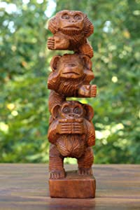 G6 Collection Wooden Hand Carved Stacked 3 Monkeys See, Hear, Speak No Evil Figurines Handmade Art Rustic Sculpture Decorative Home Decor Accent Handcrafted Wood Decoration Three Monkeys Statue