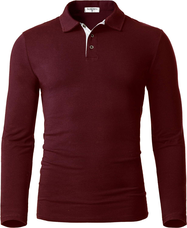 Derminpro Men's Cotton Polo Shirts Slim Fit Soft Long Sleeve Golf T-Shirts