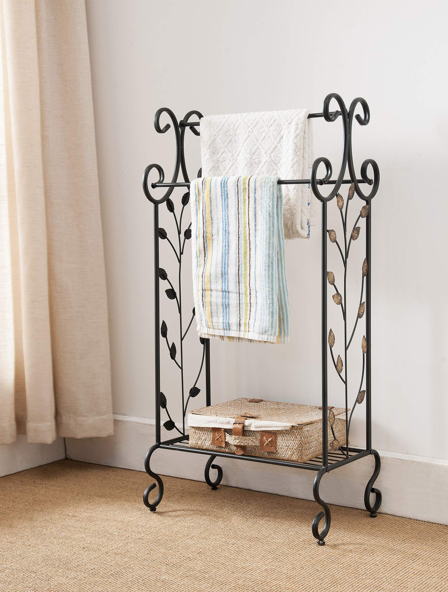 Kings Brand Furniture Black Metal with Gold Leaf Free Towel Rack Stand with Shelf by Kings Brand Furniture
