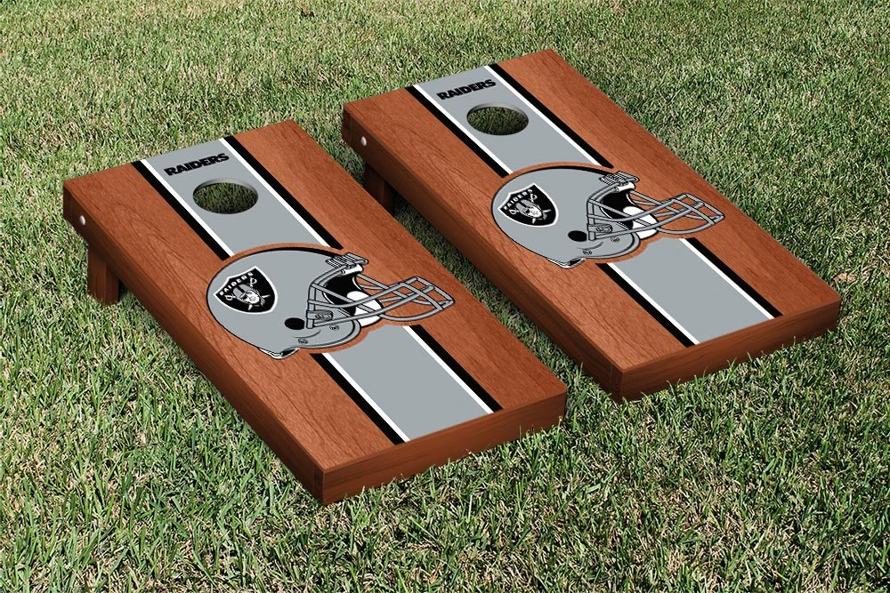 NFL Oakland Raiders Rosewood Stained Stripe Version Football Cornhole Game Set, 24'' x 48'', Multicolor