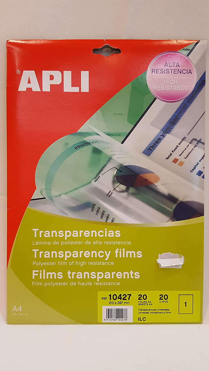 APLI Pochette 20 films transparents 210 x 297 mm Apli-Agipa 84705 10004787