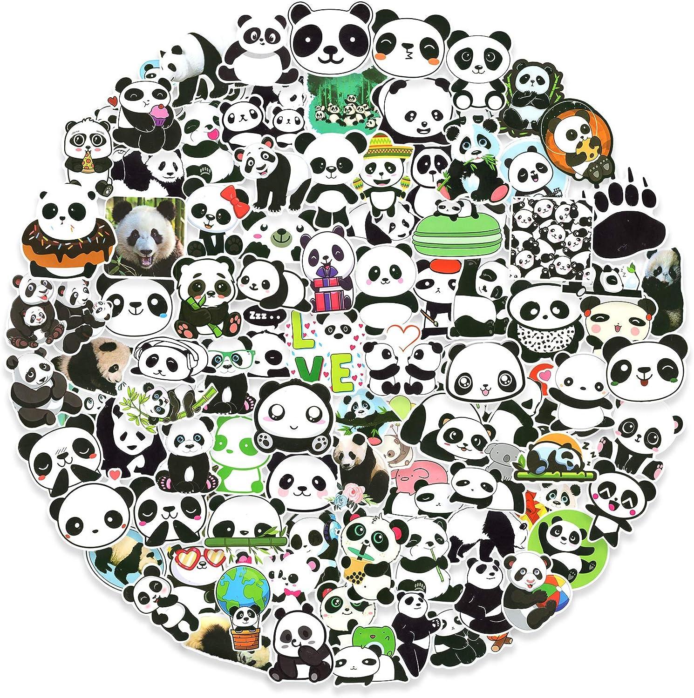 100pcs Panda Cute Stickers Pack, Aesthetic Vinyl Stickers for Laptop Water Bottle Skateboard, Waterproof Decals for Adults Teens Kids