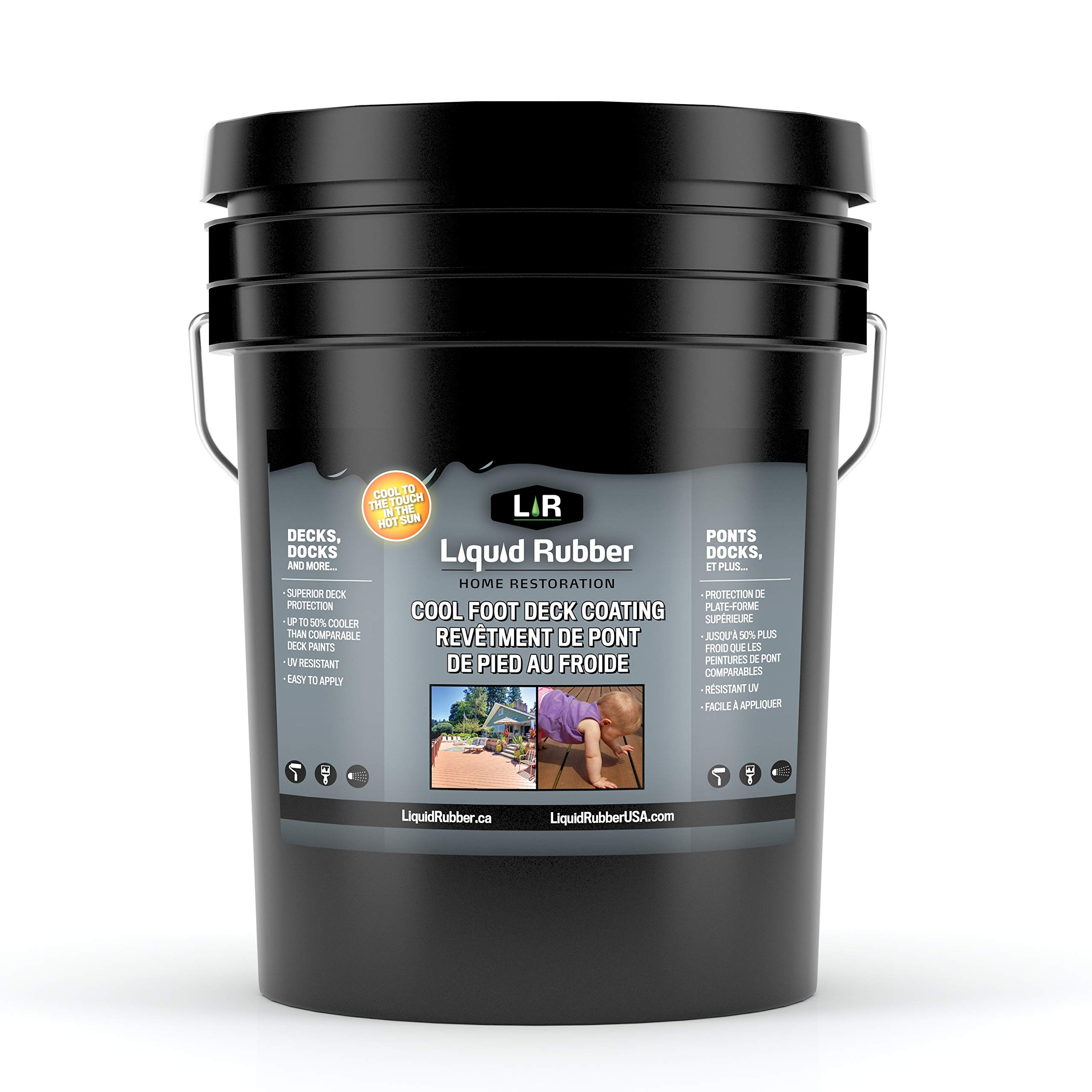 Liquid Rubber Cool Deck and Dock Coating/Sealant - Easy to Apply | UV Resistant | Non-Toxic | Neutral Beige | 5 Gallon