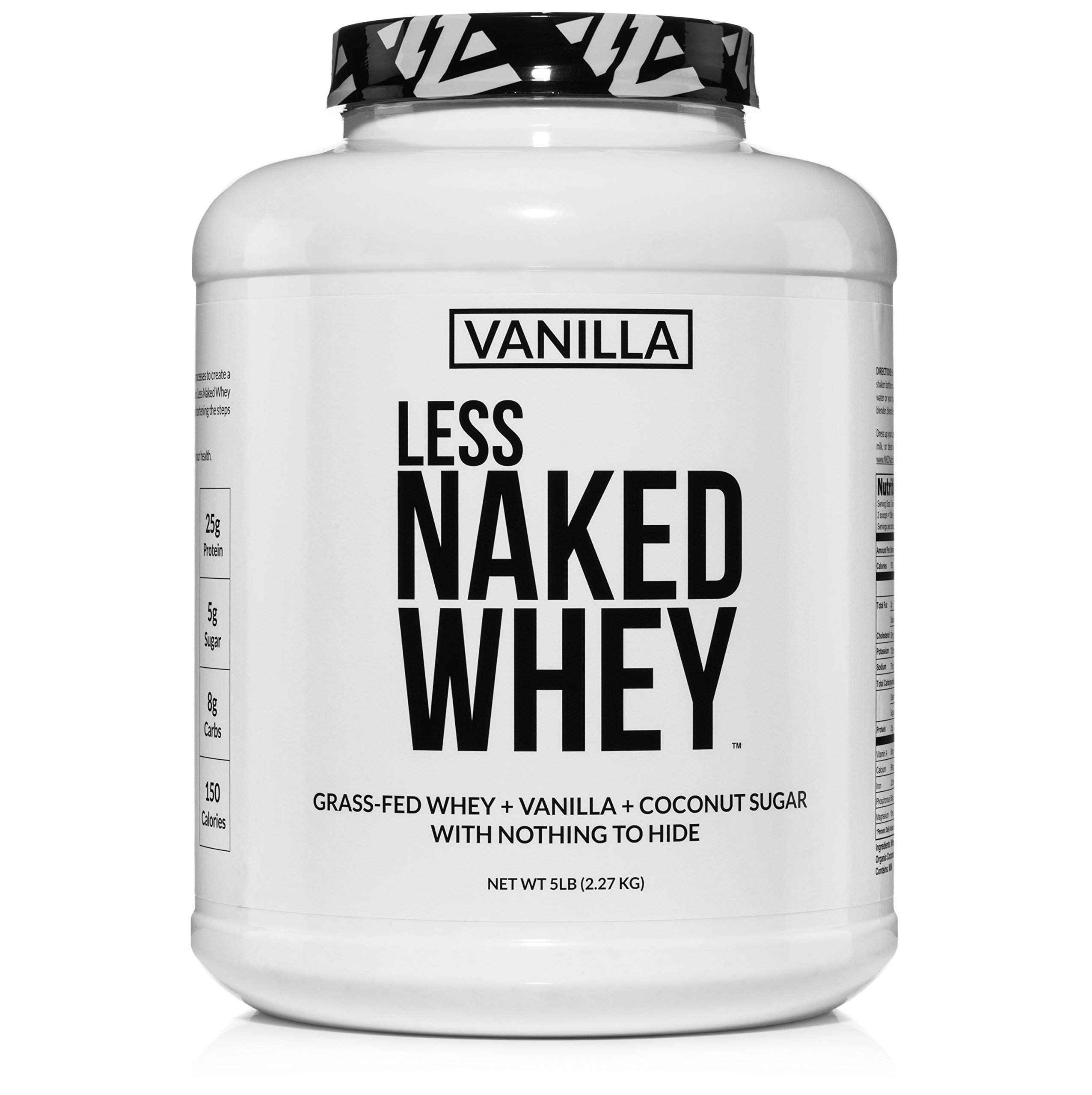 Less Naked Whey Vanilla Protein - All Natural Grass Fed Whey Protein Powder + Vanilla + Coconut Sugar- 5lb Bulk, GMO-Free, Soy Free, Gluten Free. Aid Muscle Growth & Recovery - 61 Servings by NAKED nutrition