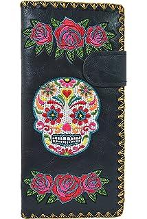 81f5dd3ca37b Lavishy Rose Sugar Skull Day of the Dead Embroidered Medium Wallet ...