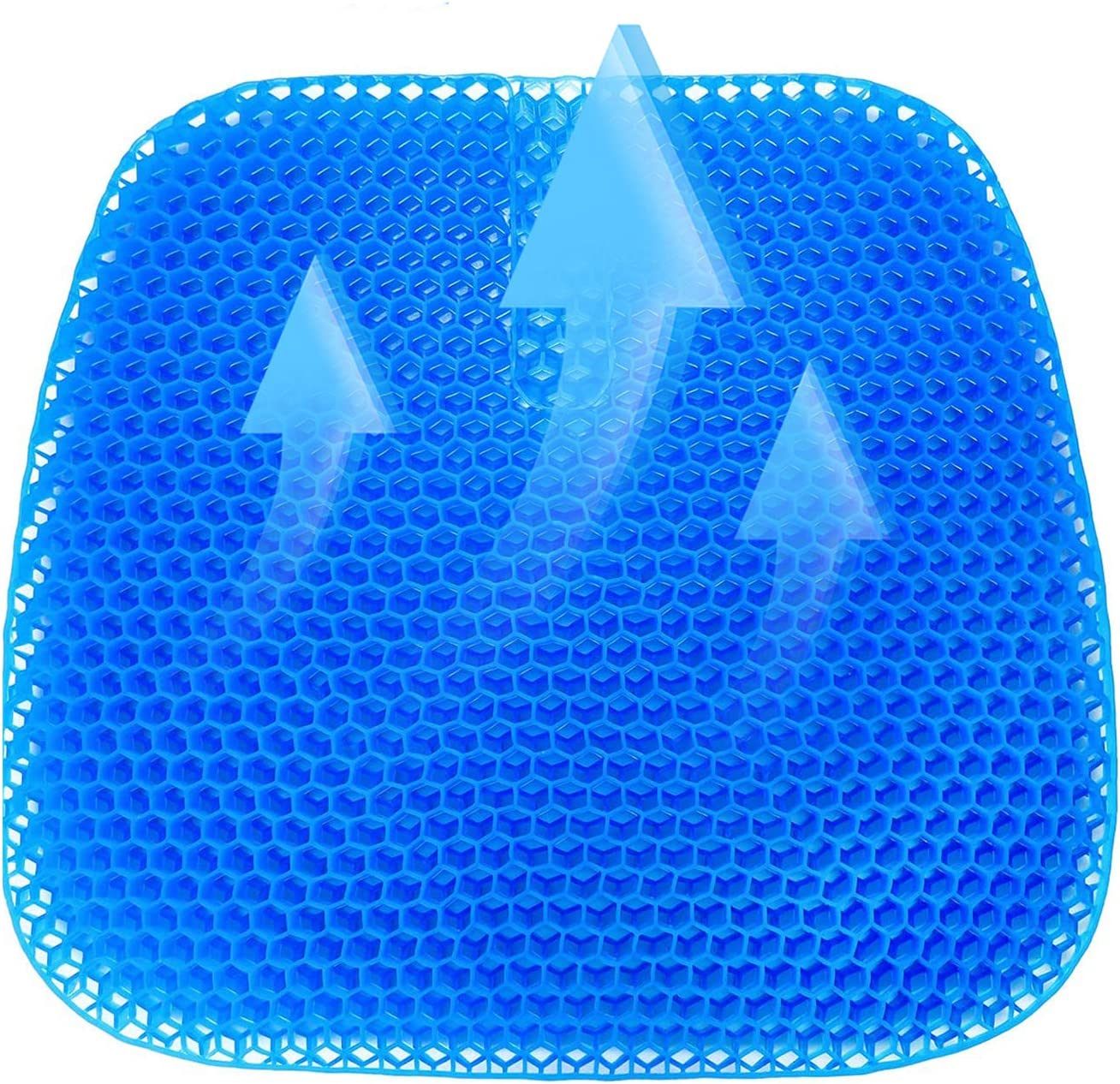 SUNKONG Gel Seat Cushion, Upgraded Office Chair Double Thick Seat Cushion,Super Breathable Honeycomb Design Relief Butt Pain Gel Cushion for Seniors, Office Worker, Driver,Pregnant,Student