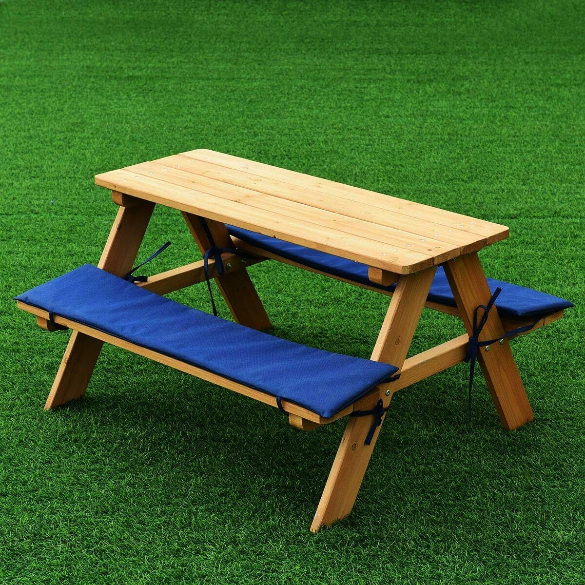 oneoneshop Kids Wooden Picnic Table Play Table Beach Table Bench Set Children Outdoor Garden Yard Beach Cushion 2 Benches with 4 Seats 35x31x20 inch Weight 17.5 lbs Set of 1 by oneoneshop