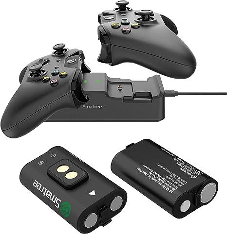 Smatree Estación de Carga de Doble Ranura con batería Recargable (Paquete de 2) para Xbox One/Xbox One S/Xbox One X/Xbox One Controlador inalámbrico Elite: Amazon.es: Videojuegos