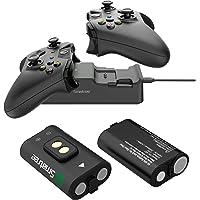 Smatree Estación de Carga de Doble Ranura con batería Recargable (Paquete de 2) para Xbox One/Xbox One S/Xbox One X/Xbox…
