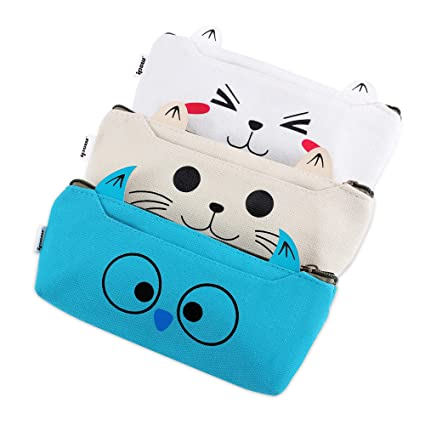 IPOW 3 Pack Adorable Cute Animal Cat Dog Owl Canvas Cosmetic Pencil Bag Pen  Case,Students Stationery Pouch Zipper Bag for School