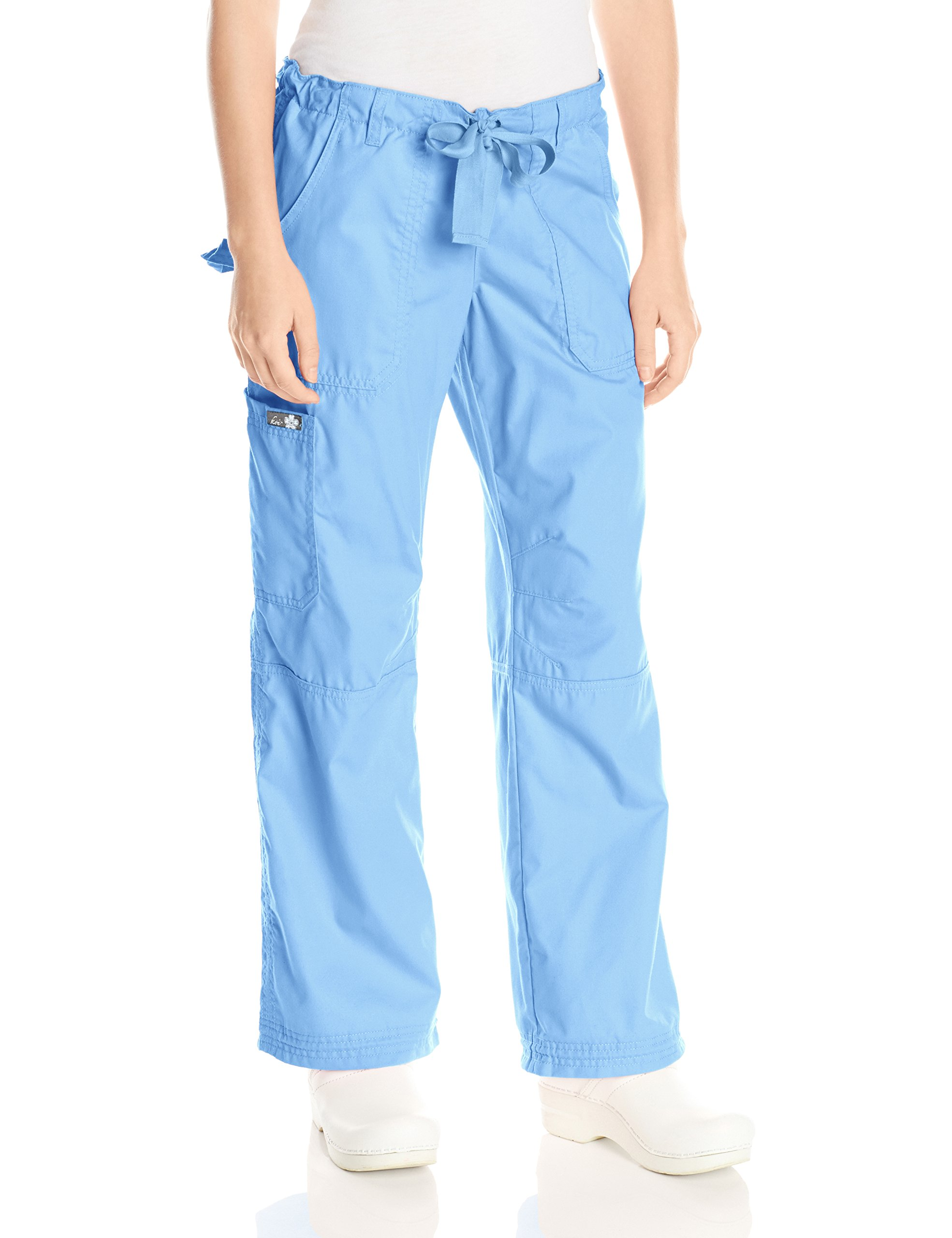 KOI Women's Lindsey Ultra Comfortable Cargo Style Scrub Pants (Petite Sizes), Cornflower, 3X-Large/Petite