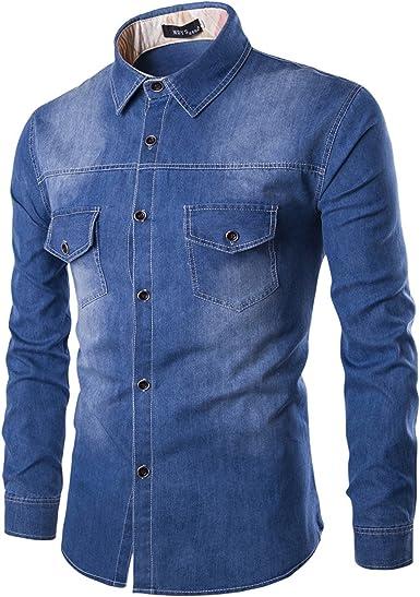 LEOCLOTHO Camisa Vaquera para Hombre Manga Larga Casual Cómodo Blusa de Mezclilla
