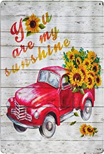 TISOSO You are My Sunshine Sunflower Red Truck Vintage Metal Tin Bar Sign Farmhouse Kitchen Wall Country Home Decor for Living Room Bedroom Decoration 8X12Inch