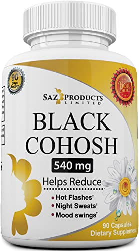 Whole Root Black Cohosh Menopause Complex – Relieves Hot Flashes Night Sweats Mood Swings Sleeplessness 100 Pure Natural Herbal Supplement for Hormone Balance 540mg Estrogen Free 90 Days Supply