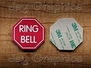 Engraved 2x2 Ring Bell Octagon Stop Sign Shape Red Plastic Plate   Door Bell Tag Sign   Adhesive Back   Engraving Small Business Home Office Wall Plaque Doorbell Home Security Sign Placard