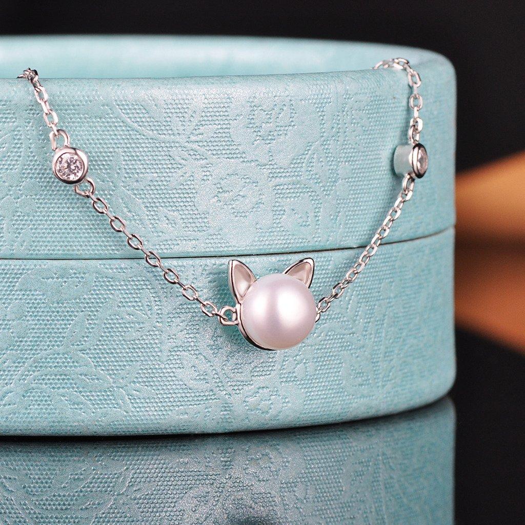 Yumilok Bracelet extensible femme en argent 925 zirconium et perle la forme du chat et cercle brillant la cha/îne de maillon est /él/égante