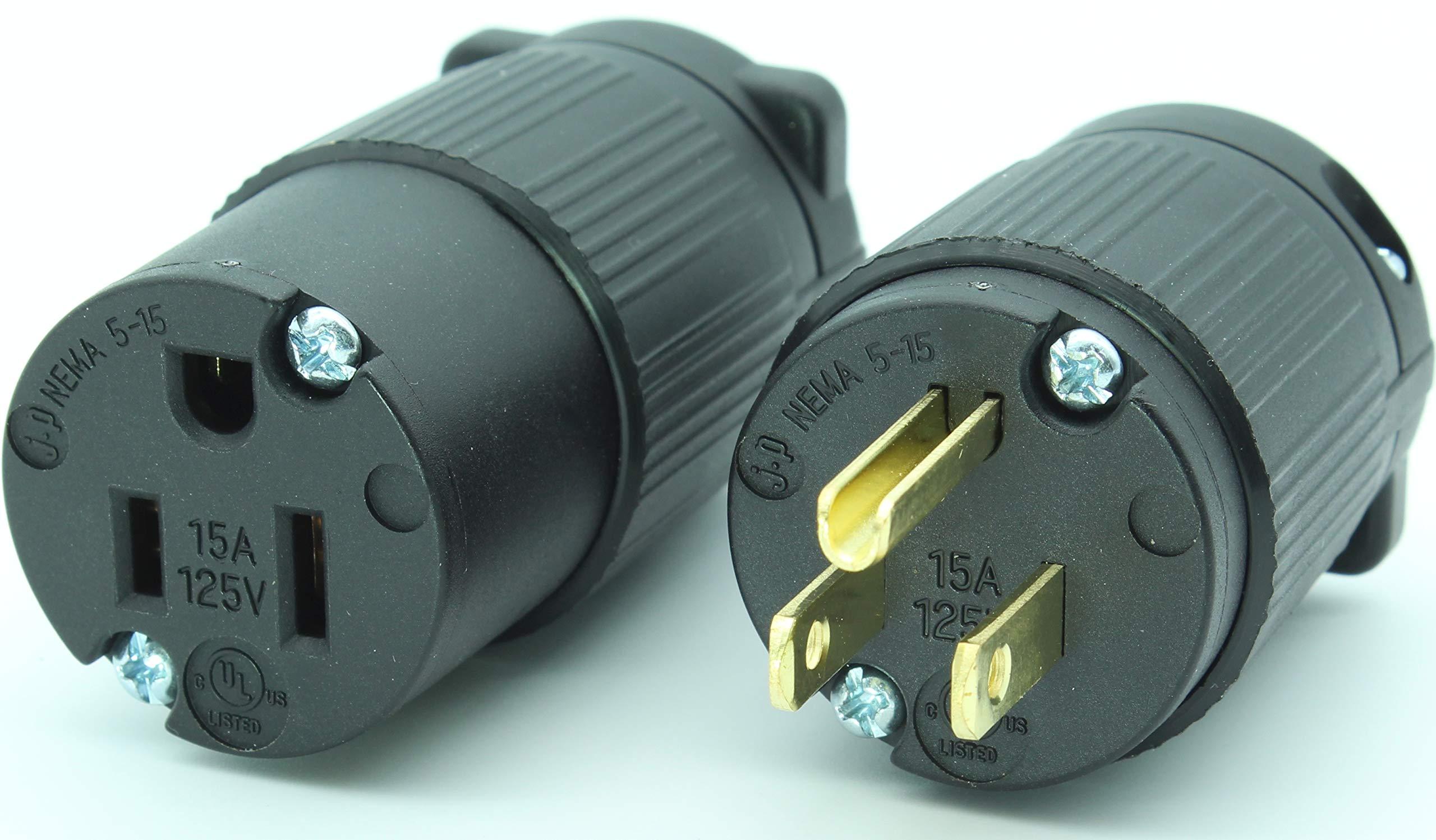 Journeyman-Pro 515PC Plug & Connector Set 15 Amp 120-125 Volt, NEMA 5-15P + 5-15C, 2Pole 3Wire, Straight Blade, Male & Female Replacement Cord End, Commercial Grade PVC Black (5)