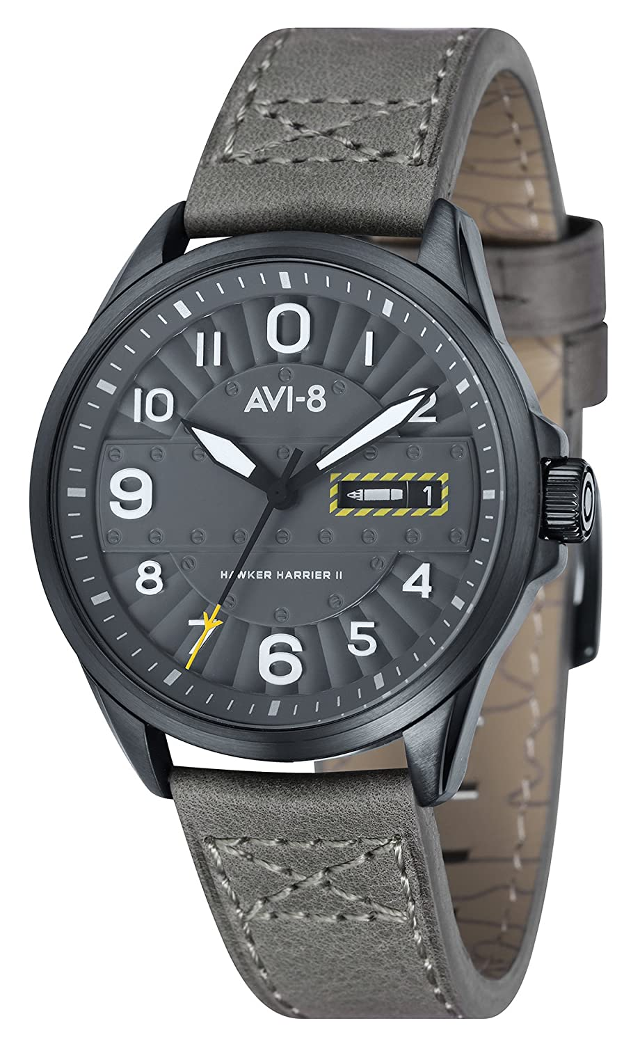 AVI-8 Unisex-Armbanduhr Analog Quarz Leder Hawker Harrier II - AV-4045-03