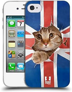 Head Case Designs Chat Sortant par L'union Jack Animaux Drôles Coque en Gel Doux et Fonds D'Écran Design Assorti Compatible avec Apple iPhone 4 / ...