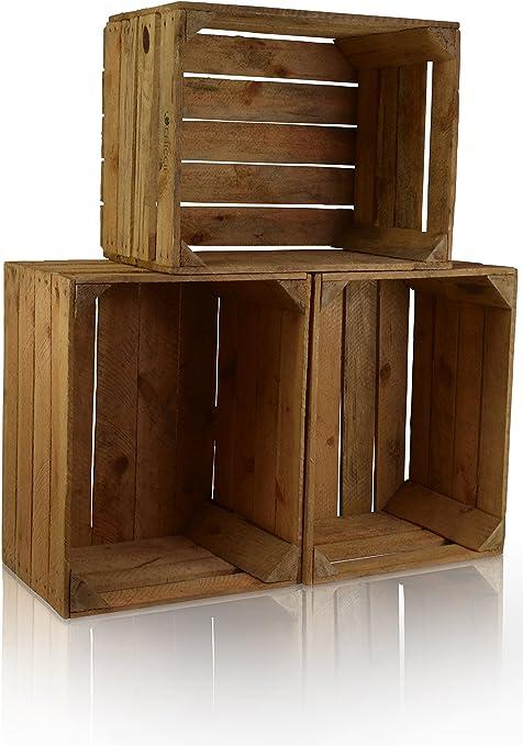 CHICCIE 3 Set Vintage Caja de madera - viejo Caja de fruta - Caja de vino - Natural Look Usado - Oscuro: Amazon.es: Hogar