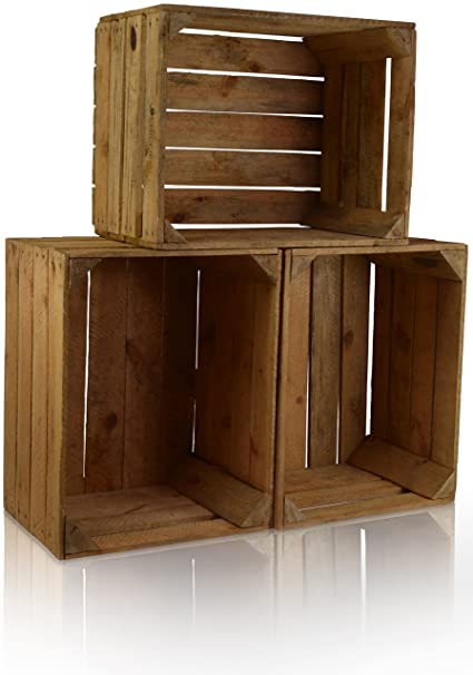 CHICCIE 3 Set Vintage Caja de madera - viejo Caja de fruta - Caja de vino
