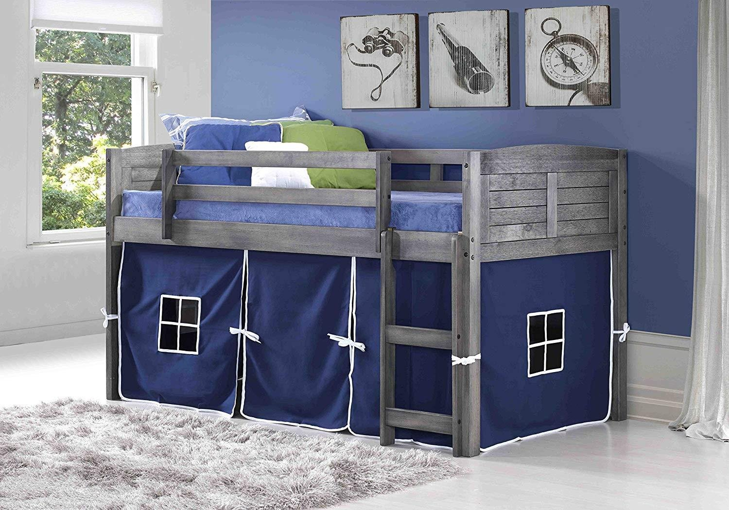 Donco Kids 790AAG_750C-TB Louver Loft Bed, Twin, Antique Grey by Donco Kids