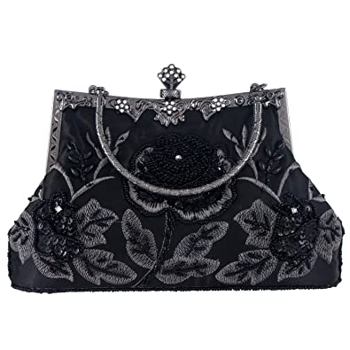 cd3bfc43b37d5d Kaever Women's Vintage Style Beaded and Sequined Roses Evening Clutch Purse  Bag Wedding Party Handbag(