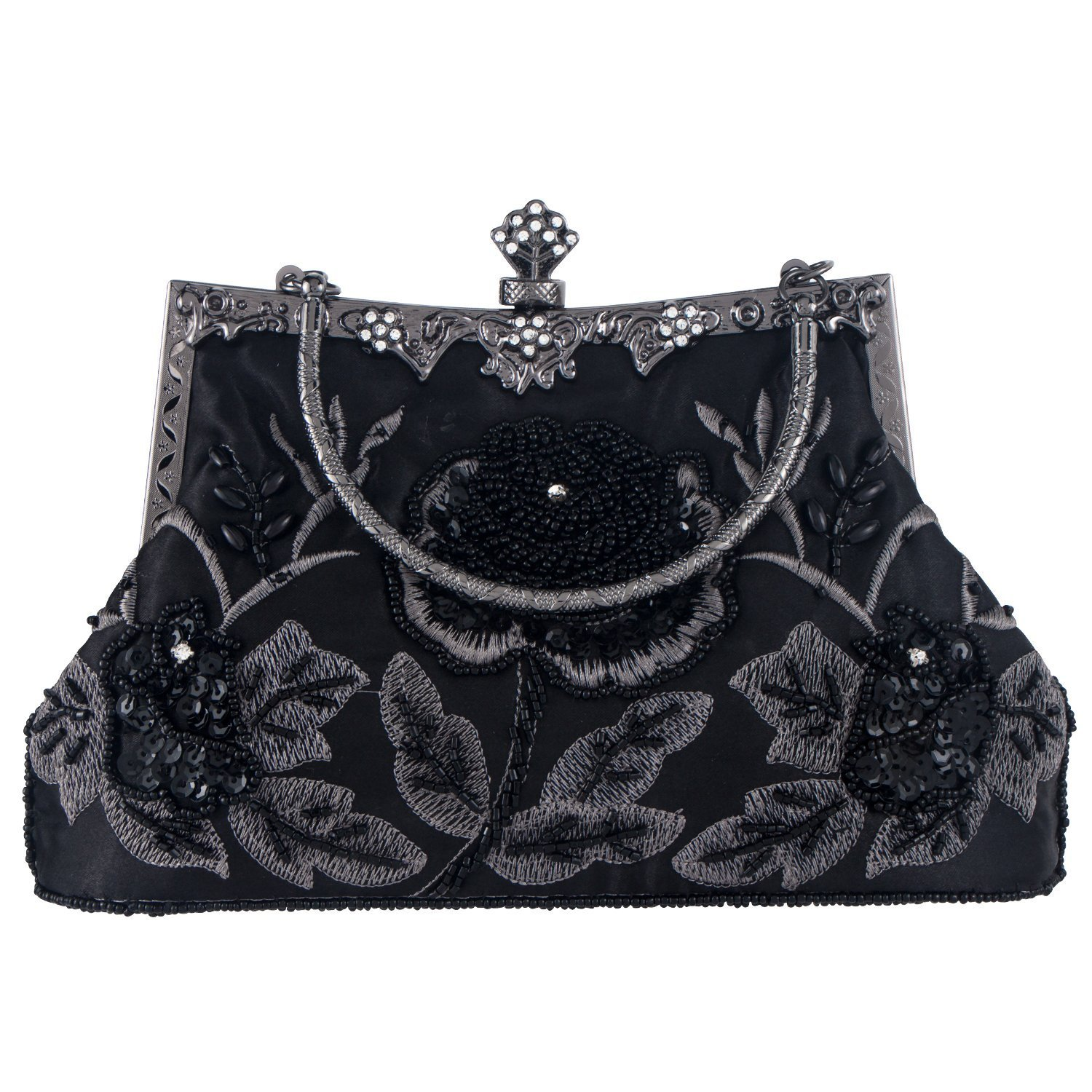 Kaever Women's Vintage Style Beaded and Sequined Roses Evening Clutch Purse Bag Wedding Party Handbag(Black)