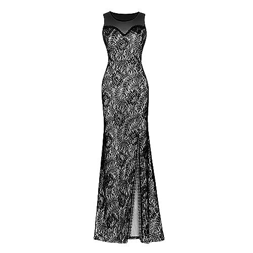 Clorislove Women Illusion Neckline Lace Maxi Sleeveless Split Side Evening Formal Dress