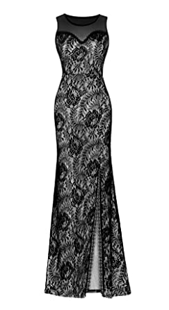 clorislove Women Illusion Neckline Lace Maxi Sleeveless Split Side Evening Formal Dress (XX-Large