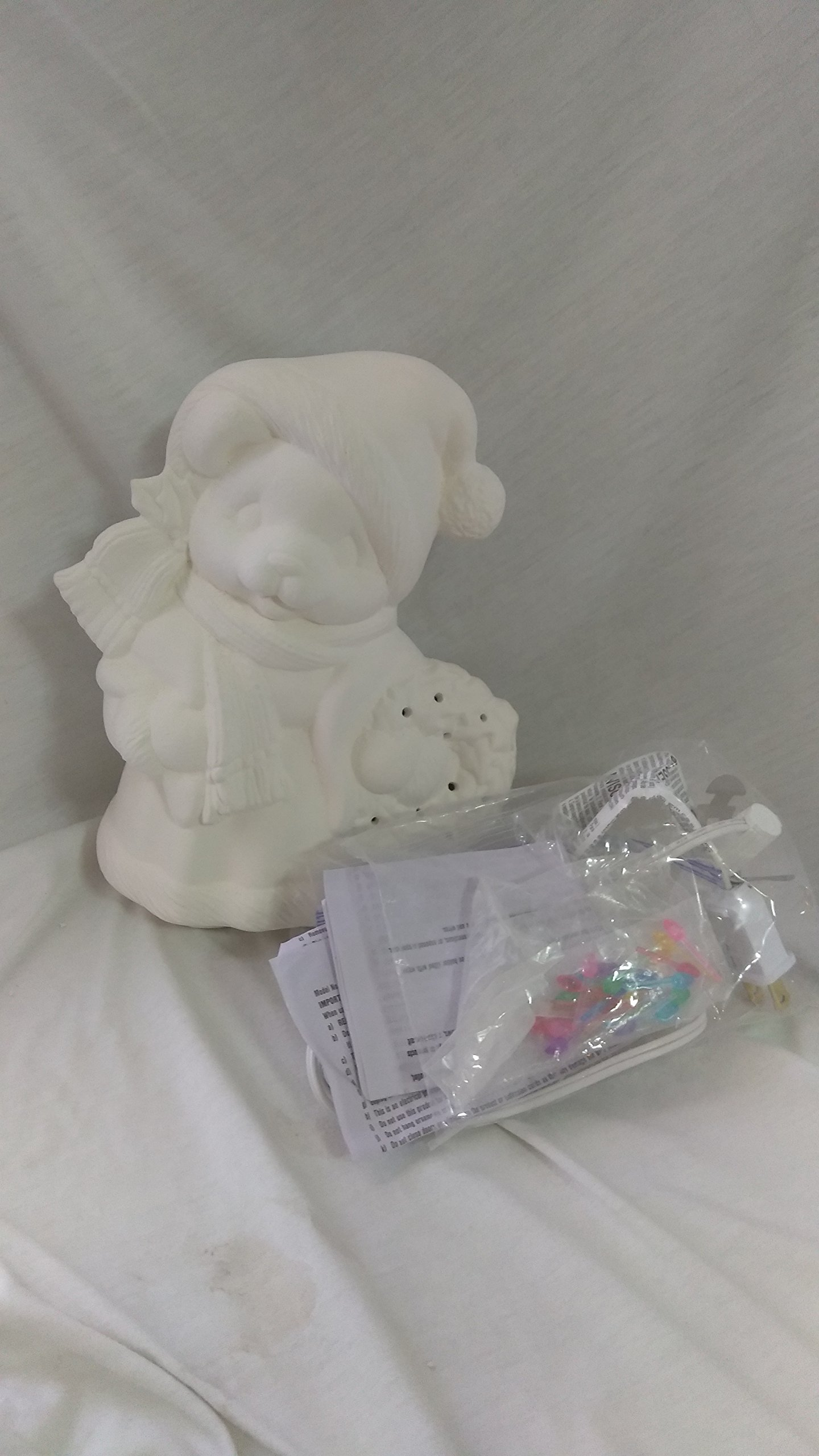 Mrs Santa Bear Christmas Light 9'' Ceramic Bisque, ready to paint with light kit