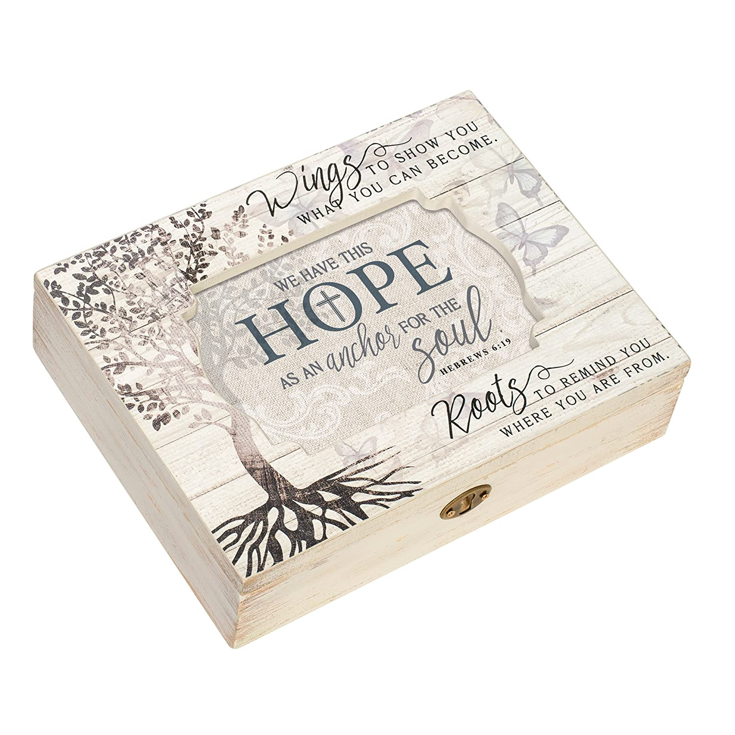 Cottage Garden Hope As Anchor for The Soul Tree Decoupage Music Box Plays Amazing Grace