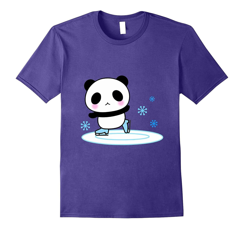 Panda Ice Skate T-Shirt Adorable Emoji Happy Face Novelty-Vaci