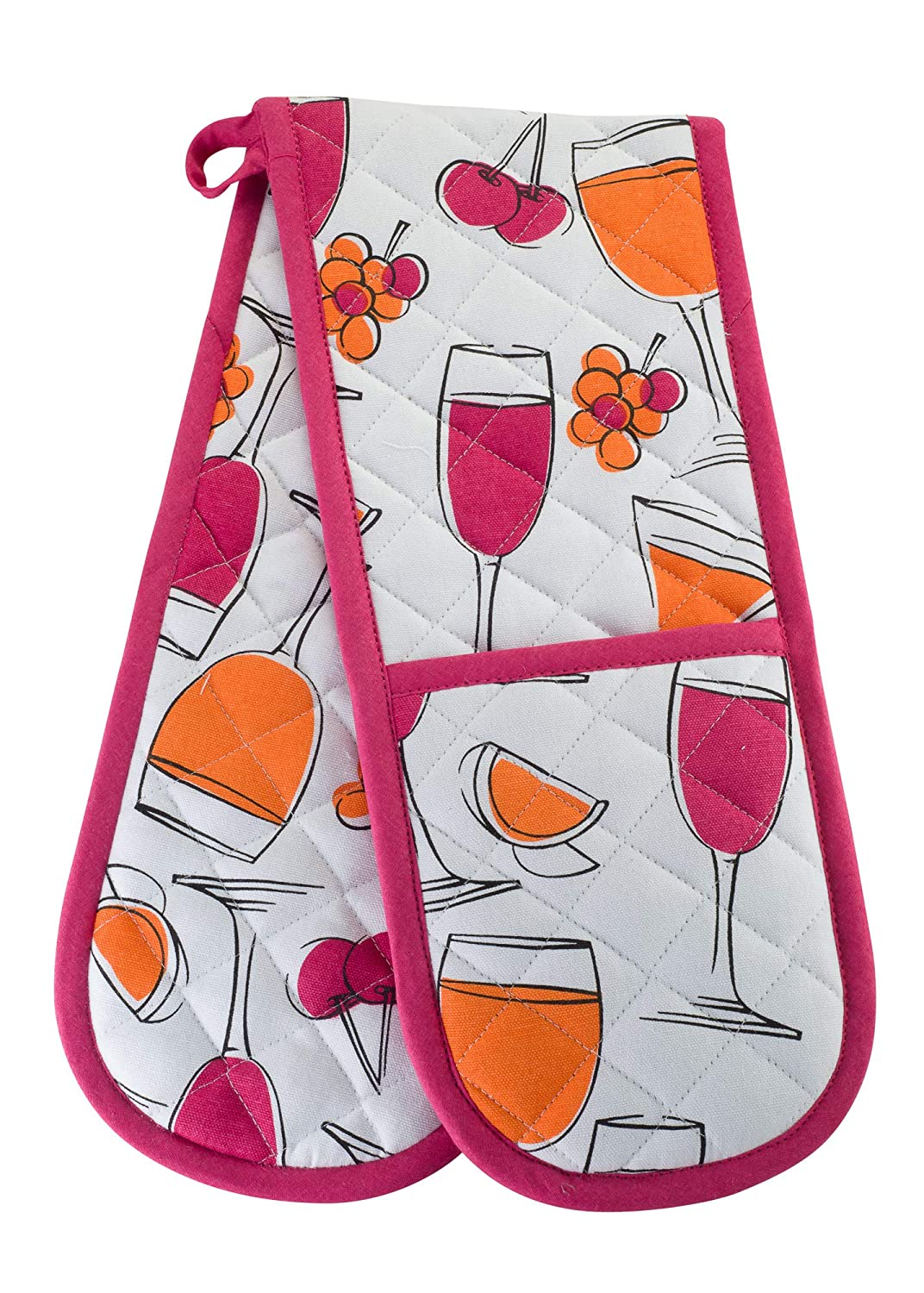 KreativeKitchenry Smart Home, Fun Wine Champagne, 1 Piece, Long Double Oven Mitts Gloves, Heat Resistant, 100% Cotton, Extra Thick, Quilted