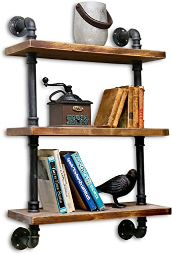 NACH Collection Industrial Style Shelving, Black pipe with rustic pine wood