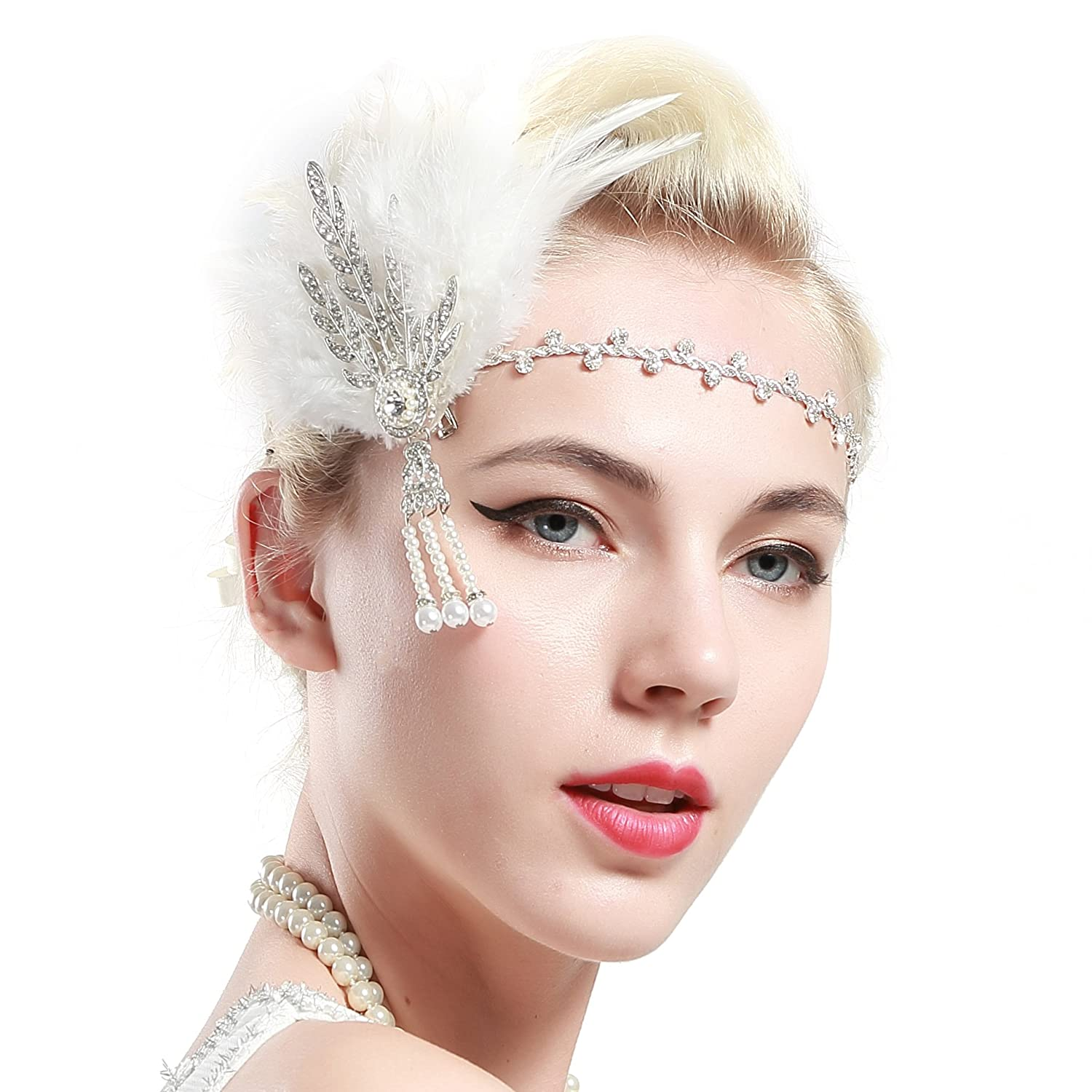 BABEYOND Art Deco 1920's Flapper Great Gatsby Inspired Leaf Medallion Pearl Headband Black Feather (Silver and White Feather)