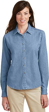 Port & Company - Camisa de Manga Larga Vaquera para Mujer. LSP10: Amazon.es: Hogar