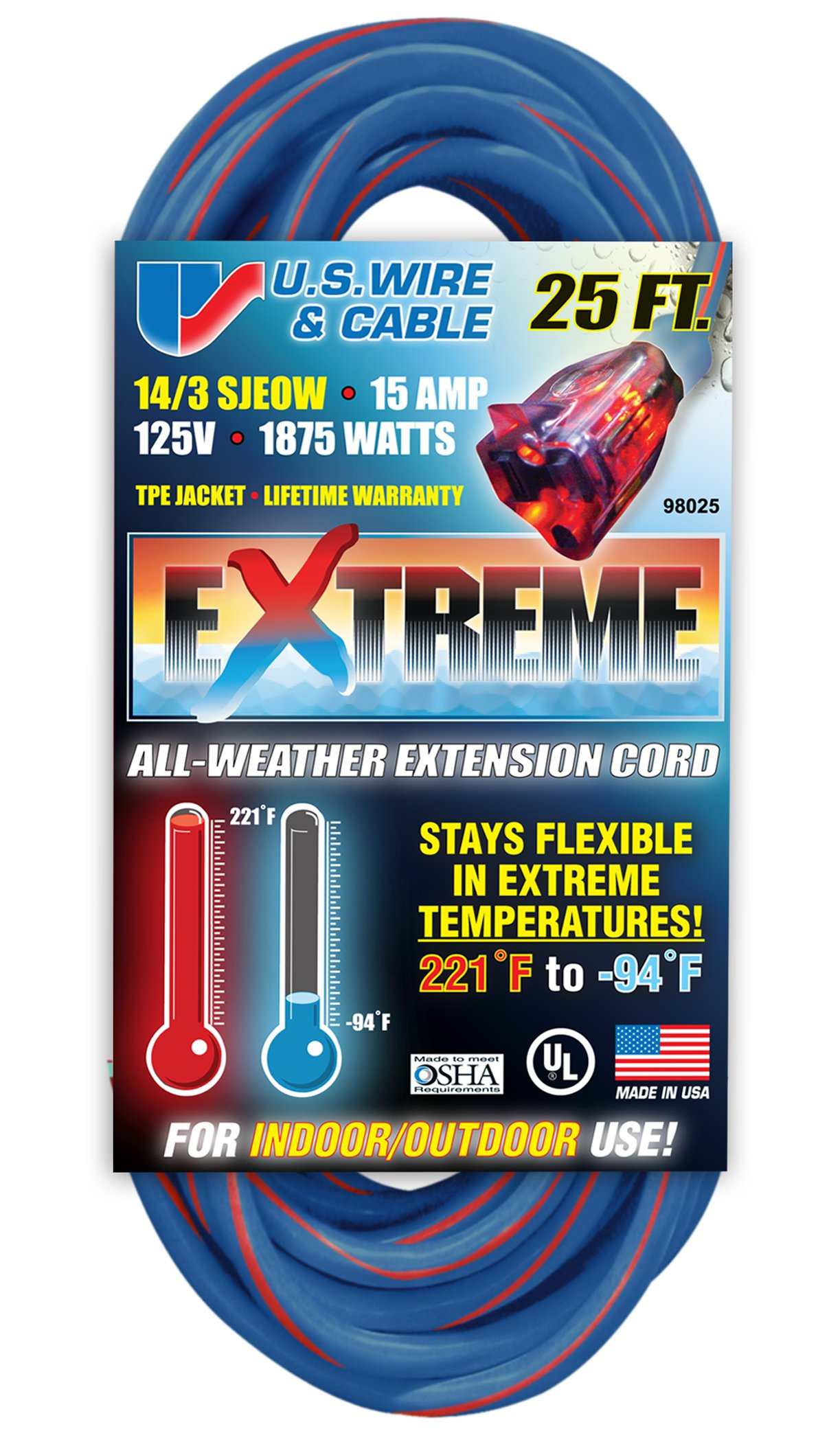US Wire 98025 14/3 25-Foot SJEOW TPE Cold Weather Extension Cord Blue with Lighted Plug