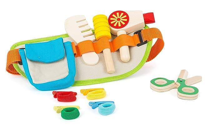 Small Foot Company Cinturón de peluquería con una Amplia Gama de Accesorios, como secador, Cepillo, Tijeras y Peine de Madera, Incl. Pinzas collets para ...