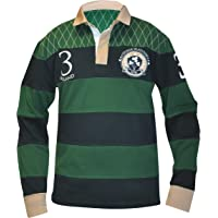 e89bbd9387ae Croker Traditional Green and Navy Striped Rugby Jersey - Cotton Long Sleeve  Polo Shirt